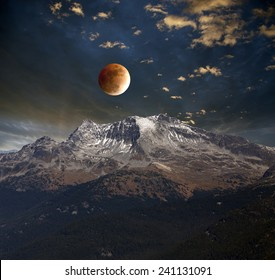 Moon Eclipse above mountains, abstract, illustration