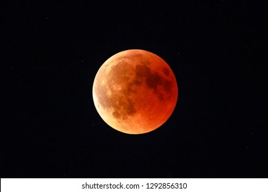 Moon eclipse in full moon and super moon by night. Total Lunar eclipse with moon turning red cause of closer Mars planet. Astronomical background.