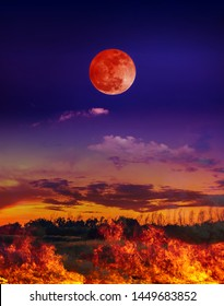 Moon eclipse. Landscape of night sky with blood moon above the fire is burning the meadow. The moon were NOT furnished by NASA.