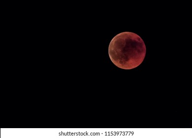 Moon eclipse, red full moon, at caceres, Spain