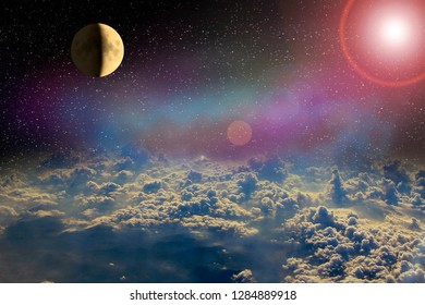 Moon glowing in open space above clouds of Earth. Cosmic landscape. Beautiful space landscape with nebula moon and clouds. Sunny rays illuminate among rays above white clouds
