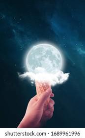 moon ice cream. photo manipulation. Surreal artwork.