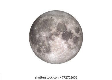Moon isolated on white. Elements of this image furnished by NASA