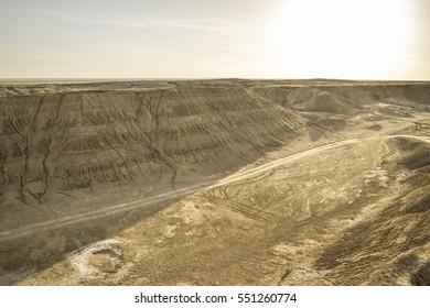 Moon landscape in Pre-Sahara Atlas mountains. Chott (Solonchak) in Tunisia. Northern Africa