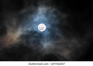 Moon light and night sky. Nature scene.