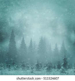 moon night background in winter forest