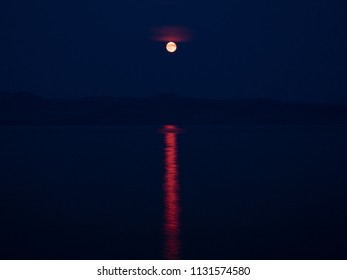 Moon Night at the Lake Baikal. Siberia, Russia.