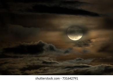 Moon with night sky Cloudy day.