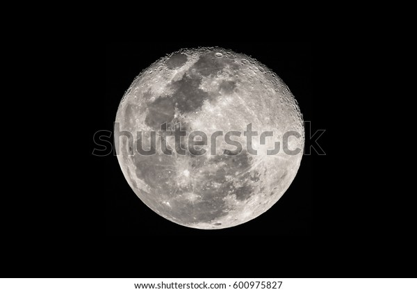 the moon on black background
