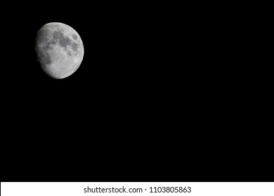 Moon on black sky