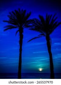 Moon over Atlantic Ocean in Agadir, Morocco