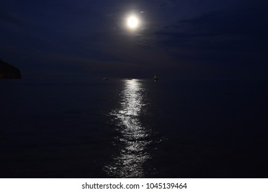 Moon over blue water. Night landscape
