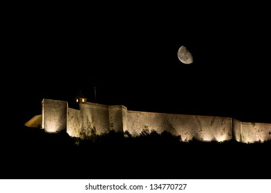 Moon over the citadel of Besançon (France)