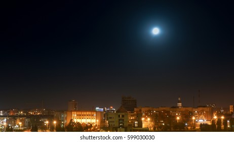 Moon over the city night  landscape