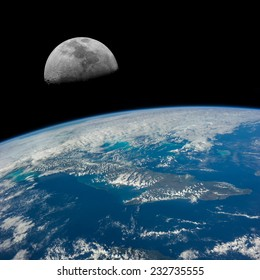 The Moon over Cuba. Elements of this image furnished by NASA.