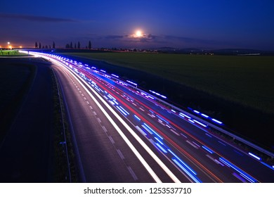 Moon over highway, Full Moon over Highway, night highway, bypass of the city Kolín, Czech republic, European Union, firefighters,