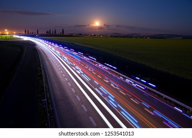 Moon over highway, Full Moon over Highway, night highway, bypass of the city Kolín, Czech republic, European Union, firefighters