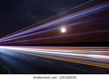 Moon over highway, night highway, bypass of the city Kolín, Czech republic, European Union,