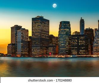 Moon over Manhattan. New York City skyline
