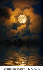 Moon over the night mountains