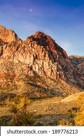 Moon Over Red Rock Canyon Las Vegas Nevada
