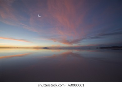 Moon over Salt Lake at Sunset