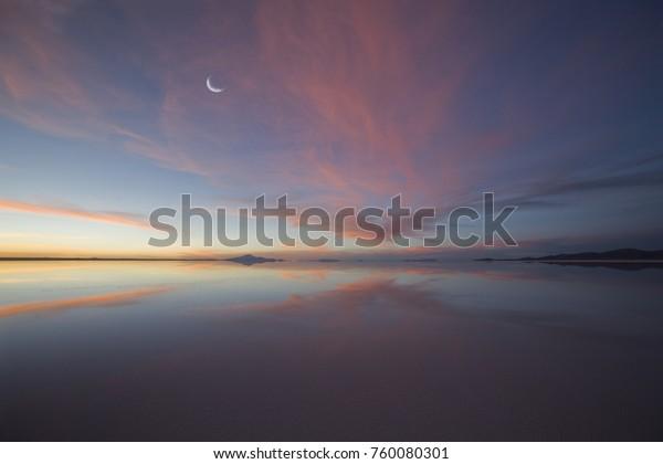 Moon over Salt Lake at Sunset