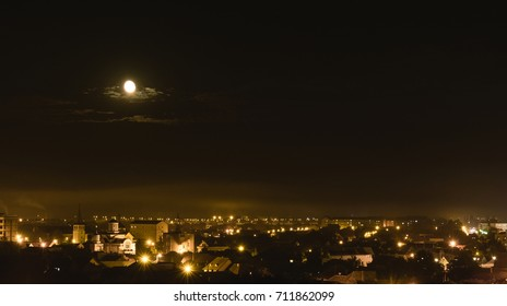 The moon over Sibiu City, Romania 2017.