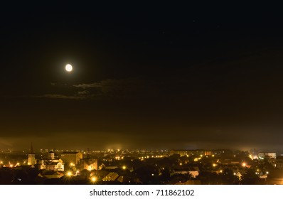 The moon over Sibiu City, Romania 2017.