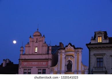 Moon over the Square, city Kolín, Czech republic,