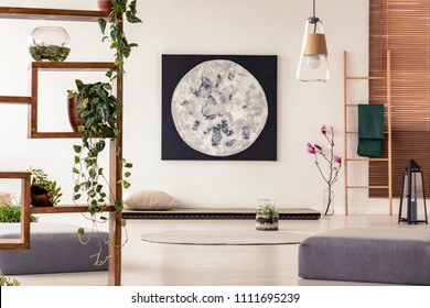 Moon painting above tatami mat bed in japanese style flat interior with ivy on wooden rack and ladder near the window. Real photo