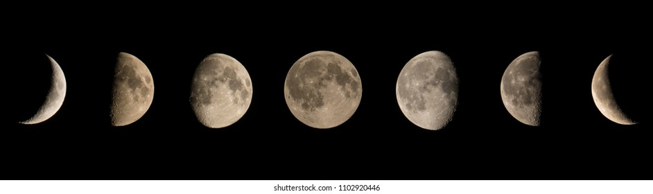 Moon phases, from black moon to black moon