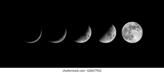 Moon phases. growing New moon - real photo