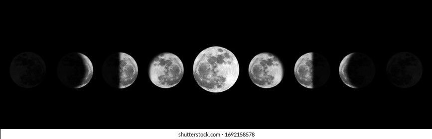 Moon phases night space astronomy and nature moon phases sphere shadow. The whole cycle from new moon to full moon.
