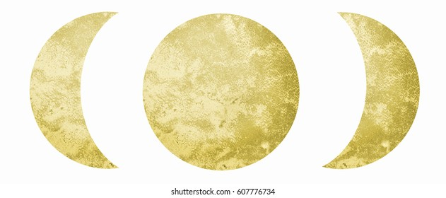 Moon phases in yellow color. Hand painted with watercolors on white background