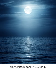 moon reflecting in a sea