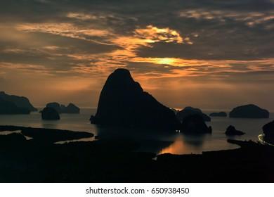 Moon rise of Phang Nga bay from Samet Nangshe viewpoint, Thailand