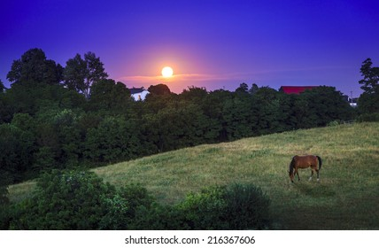 Moon rising over farmland in Kentucky