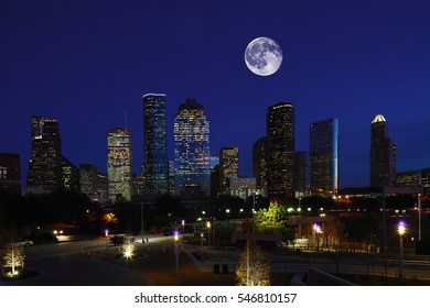 A Moon rising over Houston, Texas