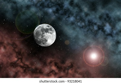 Moon seen from space with red and blue nebulas.