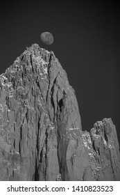 Moon setting over the Fitz Roy granite peak, in the southern Patagonian Andes in Argentina.