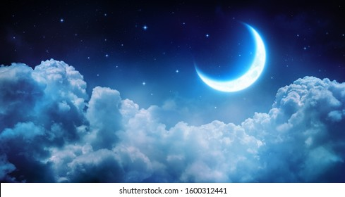 The moon shining in the silence of the glassy clouds. 4k 8K