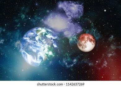 Moon from space on a black background. Extremely detailed image including elements furnished by NASA.