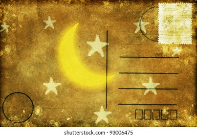 moon and star on old postcard ,retro style