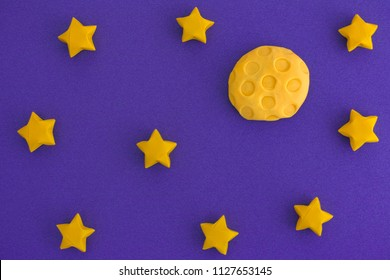 The Moon and The Starry Sky at Night. The Moon is made out of play clay (plasticine).