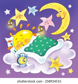 The moon and stars looking at the sleeping sun, singing lullaby and smiling, Illustration for children