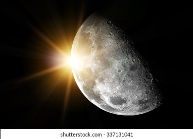 Moon an sun in space - Elements of this image furnished by NASA
