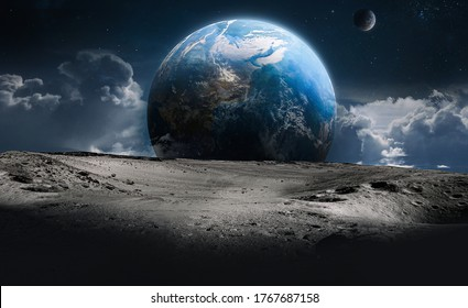 Moon surface with craters and Earth planet in deep space. Sky and clouds fantasy. Elements of this image furnished by NASA