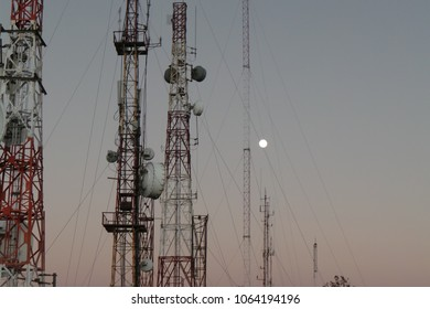 moon with telco towers