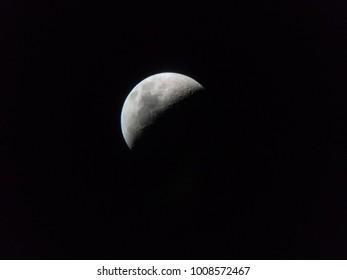the moon through an amateur telescope